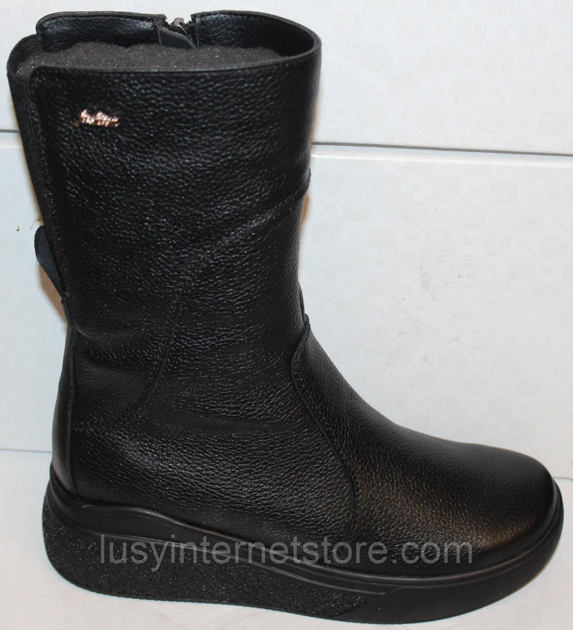 Сапоги черные женские зимние кожаные от производителя модель БМ301-2