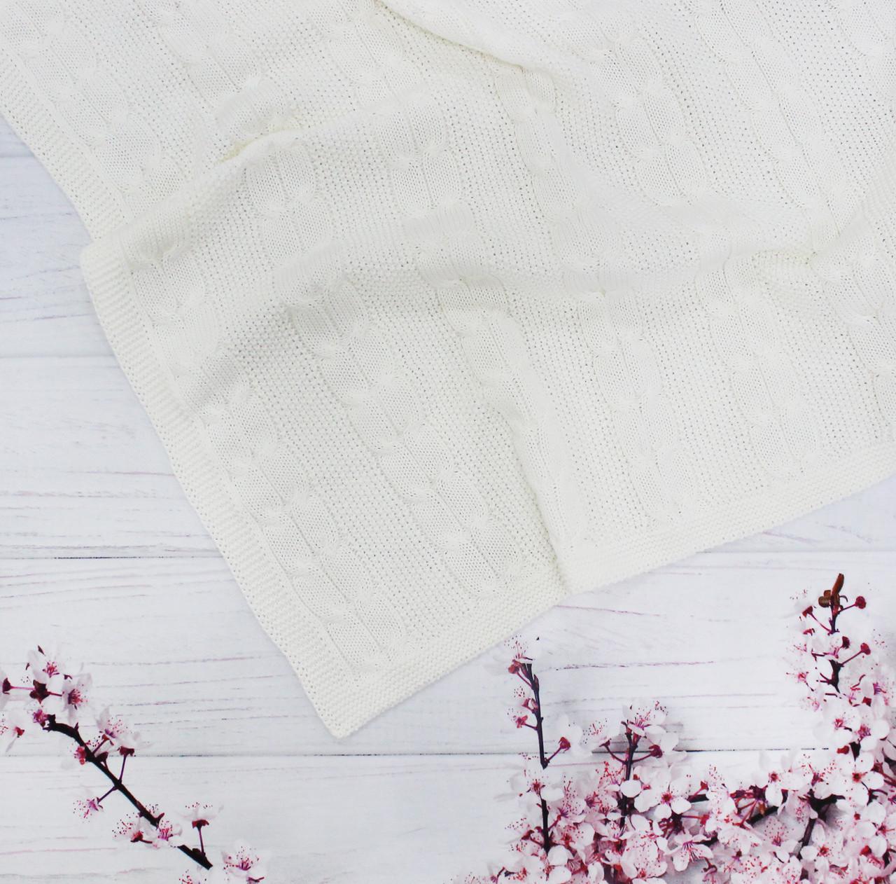Плед вязанный двойная косичка цвет молочный  95*75 см (90% хлопок, 10% акрил)