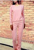 Женский спортивный костюм Милана на весну/осень ткань трикотажL-ка розовый пудренный пудра