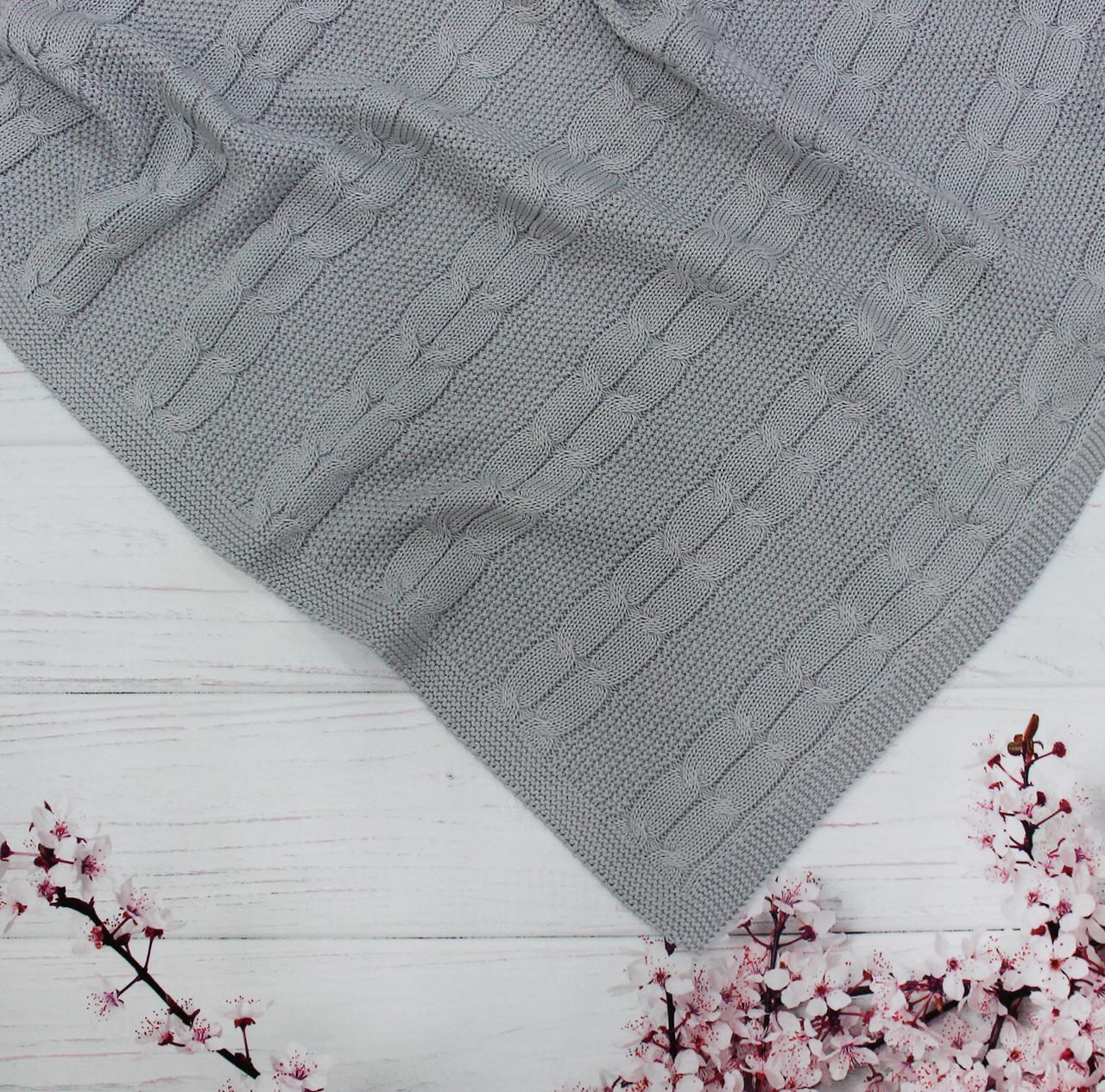 Плед вязанный двойная косичка цвет серый  95*75 см (90% хлопок, 10% акрил)