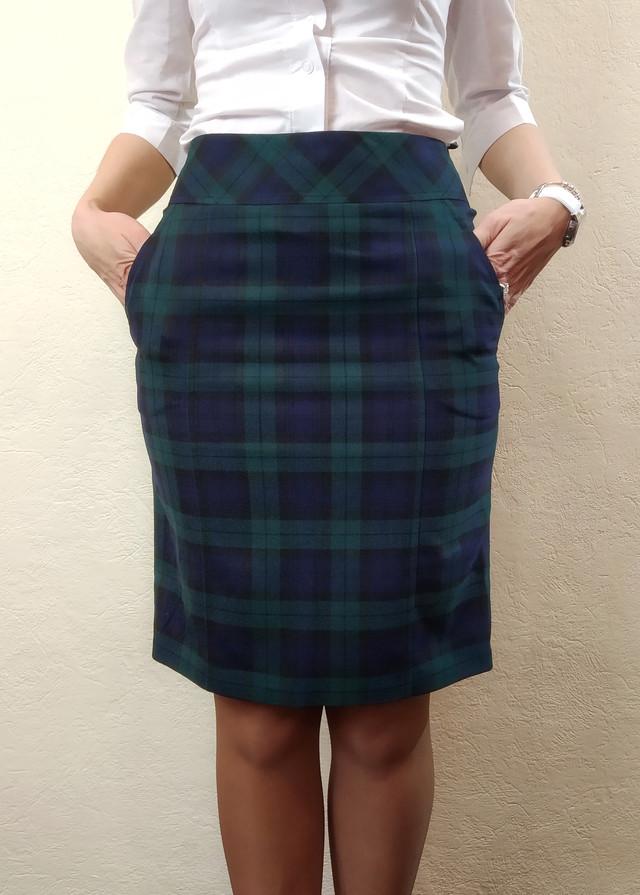 Женская теплая юбка в клетку с карманами Ю85