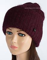 Теплая вязаная шапочка Тафина бургунди+бордовый