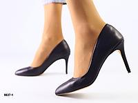 Туфли Лодочка фиолетовые на шпильке из натуральной кожи