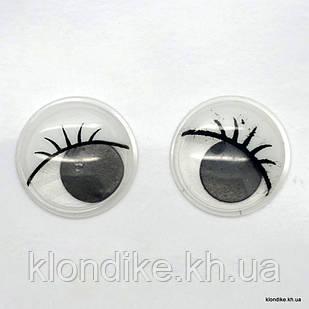 Глазки для игрушек, Подвижные, Пластик, 15 мм, Цвет: Белый (5 пар)