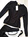Милана Женский спортивный костюм на весну/осень ткань трикотаж двунитка Л-ка черный, фото 3