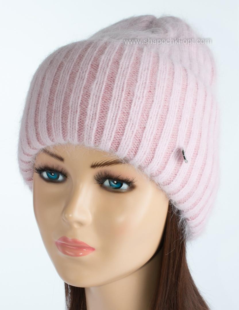 Женская шапочка из ангоры Тафина роуз+пудра