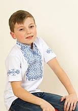 """Вышиванка с коротким рукавом для мальчиков """"Зорянчик"""" синяя 104-152"""