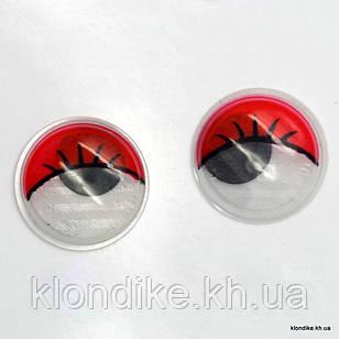 Глазки для игрушек, Подвижные, Пластик, 15 мм, Цвет: Красный (5 пар)