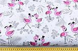 """Лоскут ткани """"Венчание фламинго"""" серое на белом №1906, размер 33*80 см, фото 2"""