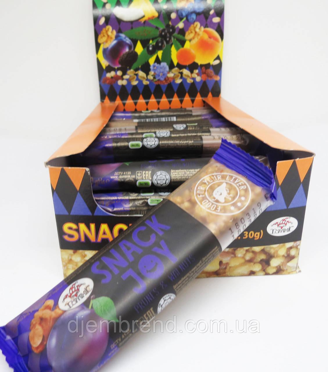 Мультизлаковый батончик Snack Joy с черносливом и грецким орехом Доминик , 30 гр 24 штуки в упаковке