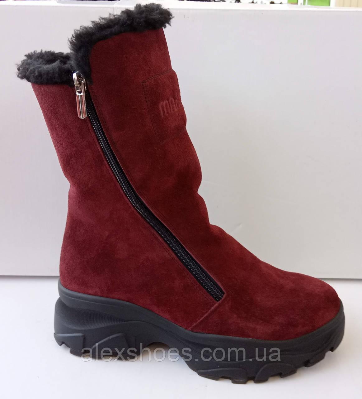 Сапожки женские зимние на широком каблуке из натуральной замши от производителя модель ДИС779-2
