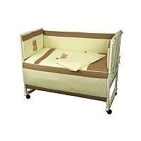 Постельный комплект в детскую кроватку сатин (бортик, пододеяльник, наволочка, простынь) ТМ Руно 977Рижик, фото 1