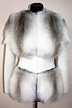 Кожушок шубка з світлою канадської лисиці та мутона, фото 4