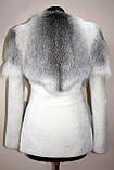 Кожушок шубка з світлою канадської лисиці та мутона, фото 5