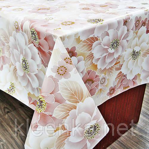 Скатерть силиконовая на кухонный стол с нежным цветочным узором