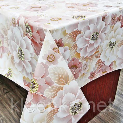 Скатерть силиконовая на кухонный стол с нежным цветочным узором, фото 2