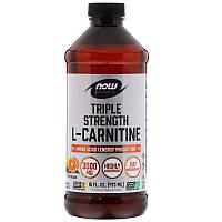 "L-карнитин в жидкой форме NOW Foods ""Triple Strength L-Carnitine Liquid"" цитрусовый вкус, 3000 мг (473 мл)"