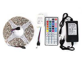 ✅RGB светодиодная лента влагозащищенная комплект (набор) с пультом управления RGB LED strip 5050 SMD 5м, фото 2