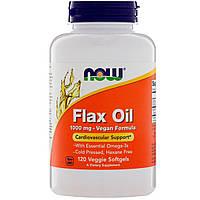 """Льняное масло NOW Foods """"Flax Oil"""" 1000 мг, здоровье сердечно-сосудистой системы (120 гелевых капсул)"""