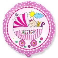 Воздушный шарик круг фольгированный с надписью baby girl 1шт