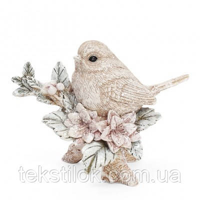 Фигурка новогодняя Птичка на ветке с цветами  Новогодний декор
