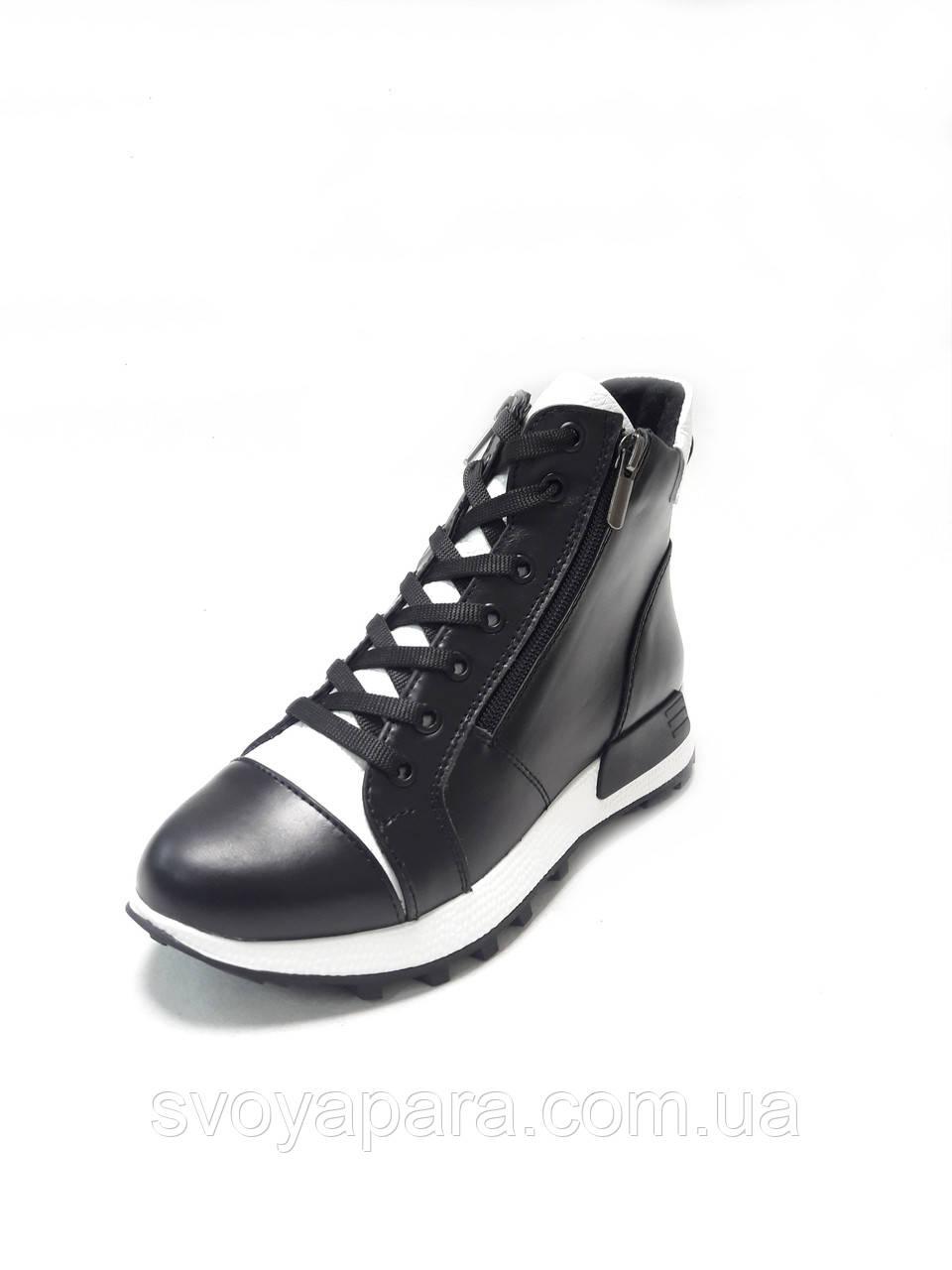 Женские зимние ботинки черные с белым кожаные (100109)