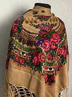 """Кавова хустка з народним орнаментом """"Букет квітів"""" та золотими нитками (120х120)"""