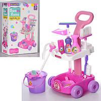 Детский игровой набор для уборки с тележкой (Щетки, ведро, швабра, совок, губка)