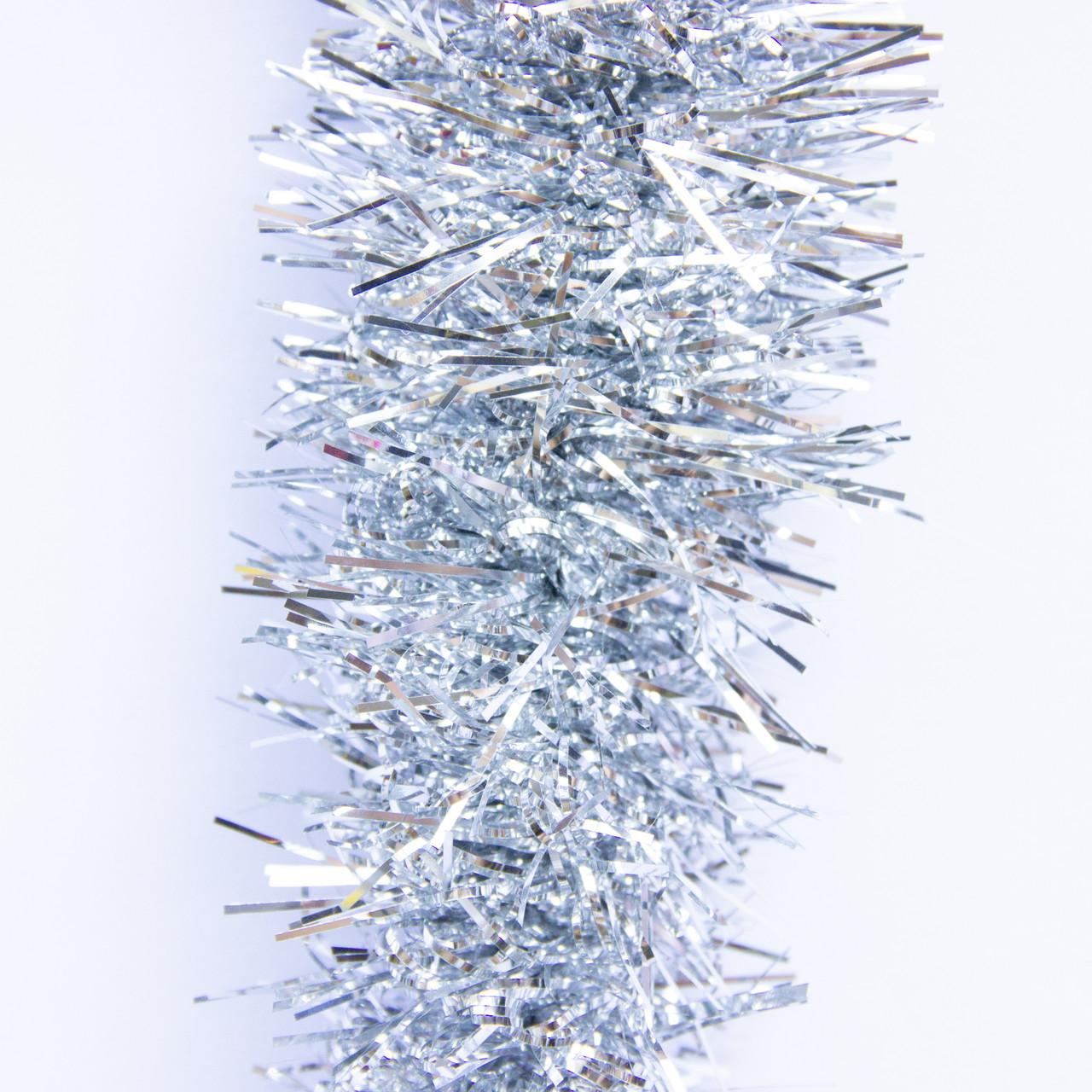 Новогоднее украшение - мишура, 200*7 см, ПВХ, серебристый (ГСС-70/70/2-9)