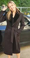 Женское кашемировое пальто. Мех на вороте норка
