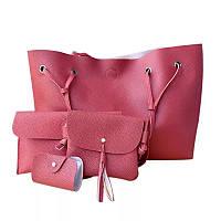 Женская сумка большая, маленькая сумочка, клатч и визитница набор красный