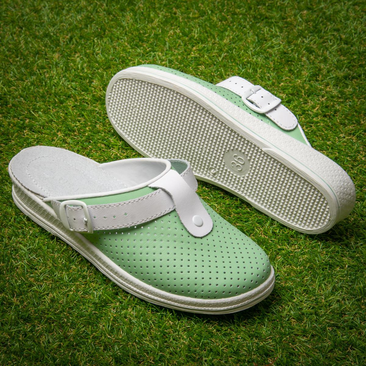 Женские кожаные сабо Tellus 74-08/04aGRW Зеленый