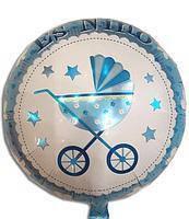 Воздушный шарик фольгированный с рисунком коляска синяя