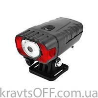Фонарь велосипедный HJ-050-3W, встроенный аккумулятор, ЗУ micro USB, Waterproof, датчик света