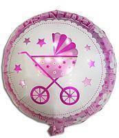 Воздушный шарик фольгированный с рисунком коляска розовая