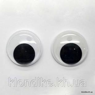 Глазки для игрушек, Подвижные, Пластик, 30 мм, Цвет: Белый (5 пар)