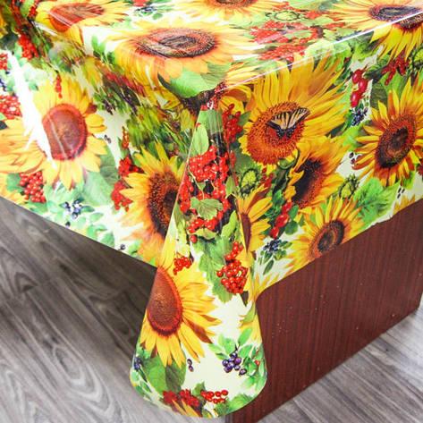 Силиконовая клеенчатая скатерть на стол, яркие Подсолнухи, фото 2