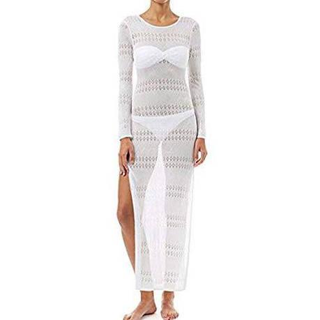 Пляжное платье белое длинный рукав -146-26-1, фото 2