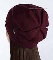 Вязаная шапка с люрексом Элизабет цвет бордо