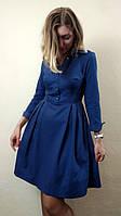 Cинее хлопковое платье с пышной юбкой П274
