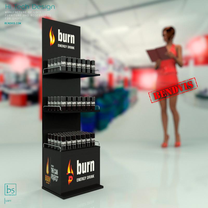 Изготовление стендов для напитков Burn на заказ для магазинов