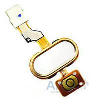 Шлейф Meizu M3s кнопка Home со сканером отпечатка пальца White / Gold