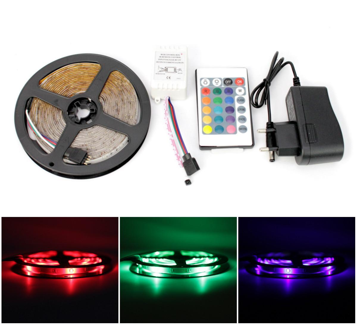 ✅RGB светодиодная лента влагозащищенная комплект (набор) с пультом управления RGB LED strip 2835 SMD 4,2м