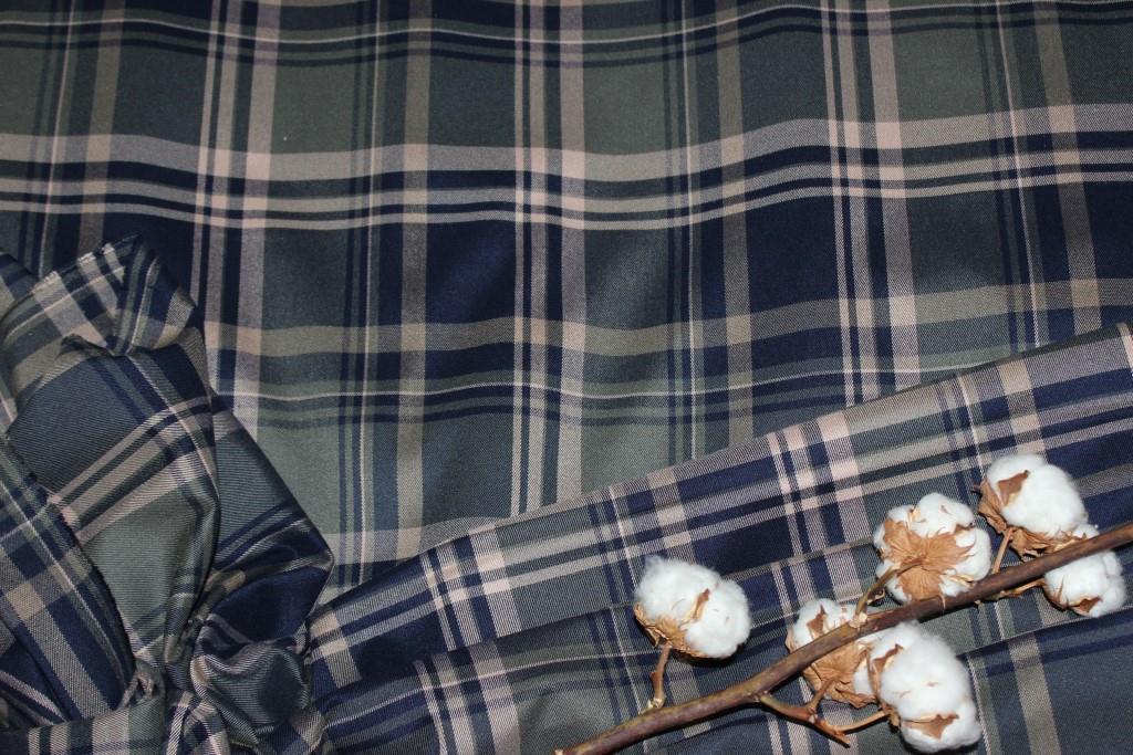 Ткань костюмная плательная клетка, натуральные волокна, слабый стрейч (5%эластана) №313, фото 1
