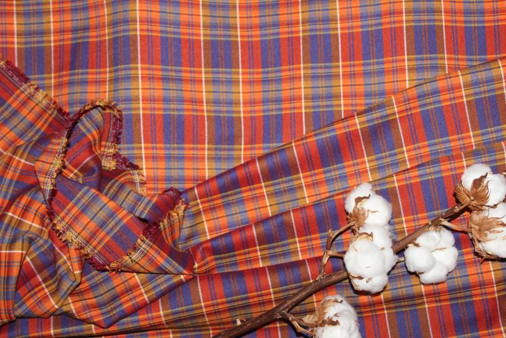 Ткань костюмная плательная клетка, натуральные волокна, слабый стрейч (5%эластана) №317, фото 1