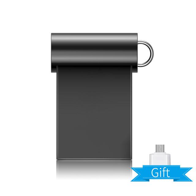 Флешка USB flash drive, 64Gb, мини для автомагнитол, металлическая + подарок OTG переходник для телефона