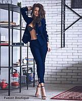 Женский модный брючный костюм с жакетом 2 цвета, фото 1