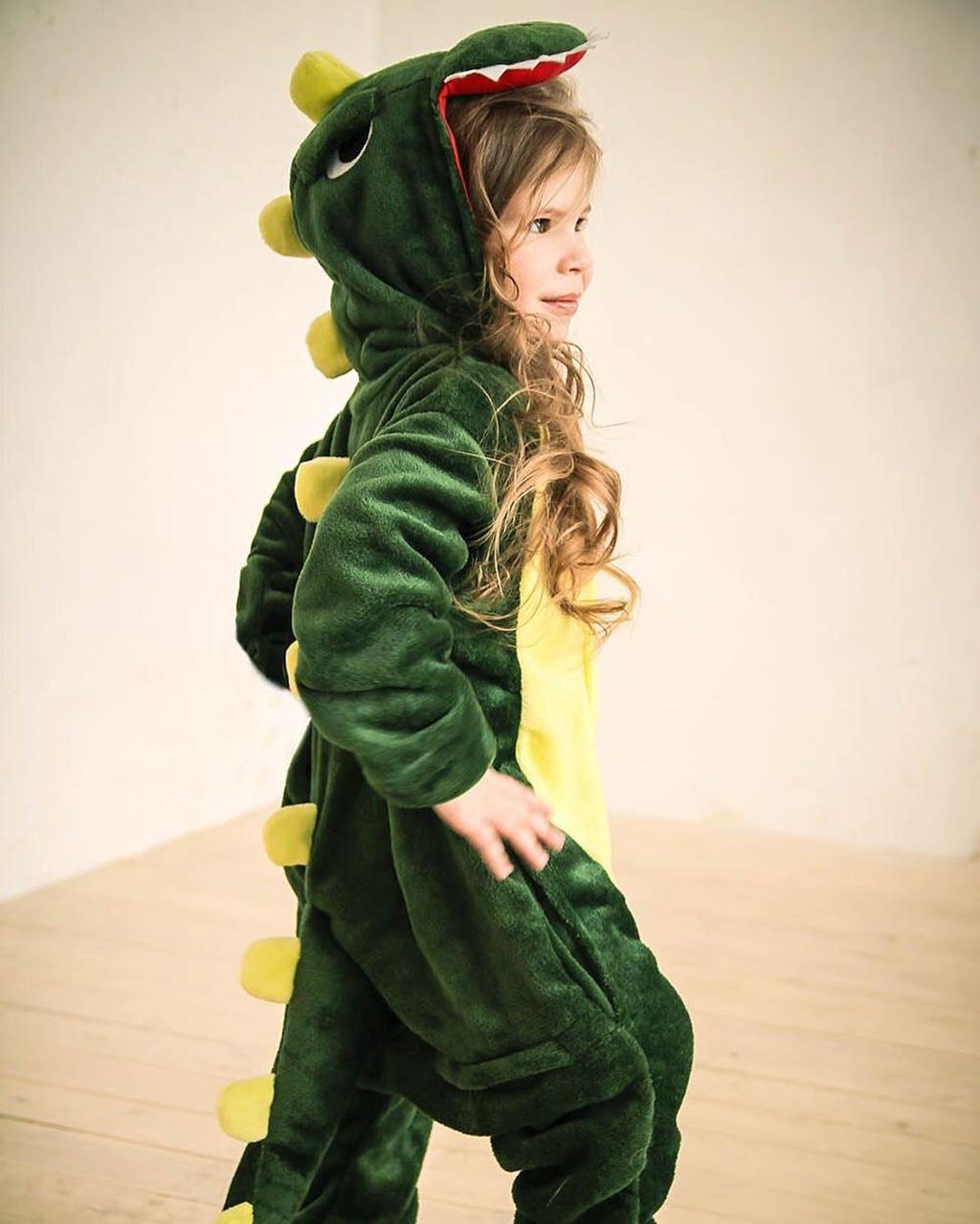 Детский костюм кигуруми зеленый дракон kig0040
