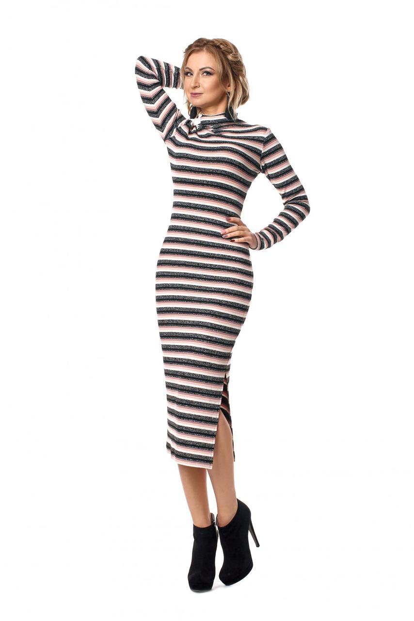 / Размер 42-44,46-48,50-52 / Женское элегантное платье прилегающего силуэта длиной миди 1028.2_пудровый