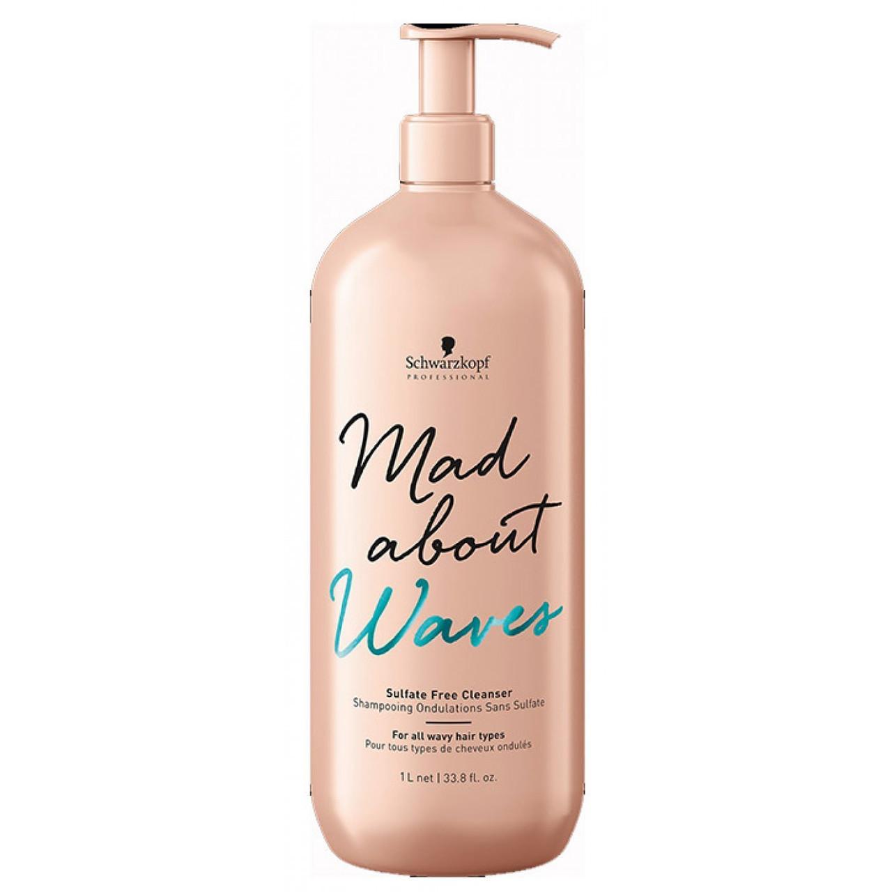 Безсульфатный шампунь для волнистых волос SCHWARZKOPF Mad About Waves Sulfate Free Cleanser 1000 мл